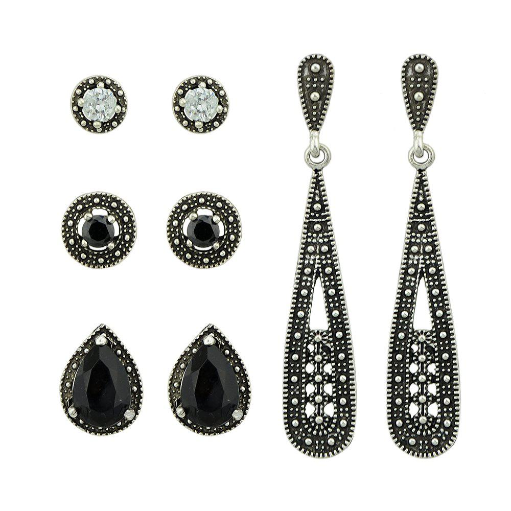 Gunblack Color with Black Stone Stud Dangle Earrings 4 Pairs/Set