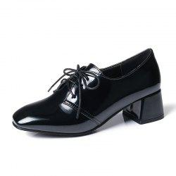 Square Headed Thick Heeled Casual Cow Tendon Shoes -