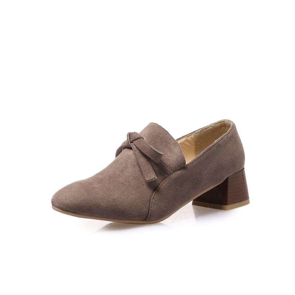 Affordable Square Toes Pure Color Bowknot Napped Leather Chunky Women Casual Pumps