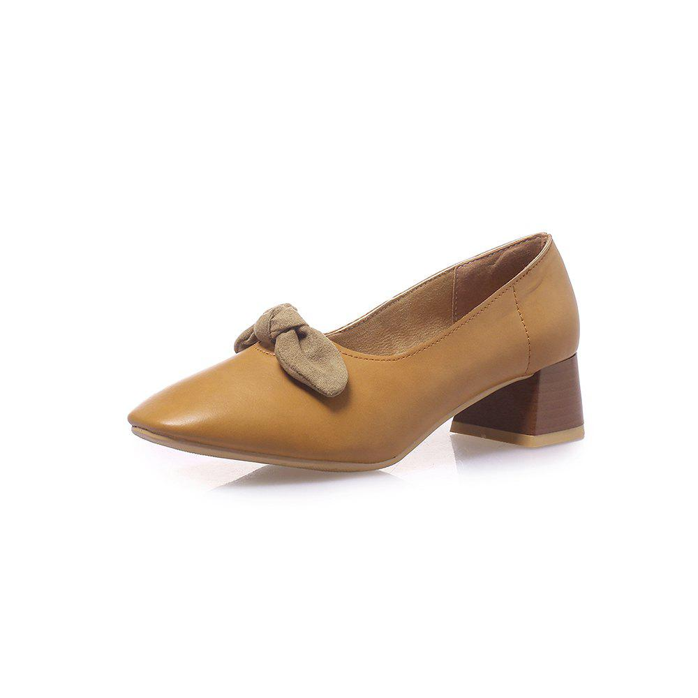 Store Square Toes Bowknot Pure Color Sweet Chunky Women Casual Pumps