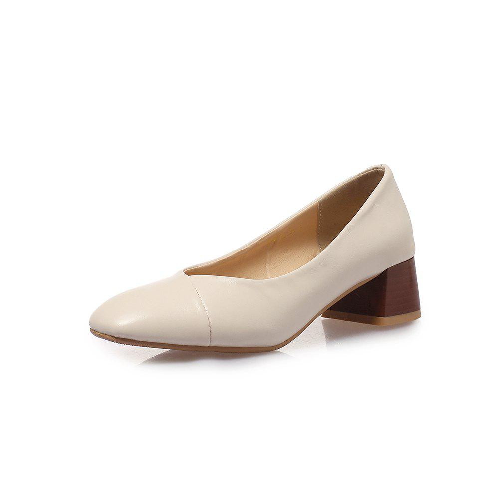 Latest Square Toes Pure Color Joker Chunky Women Casual Pumps