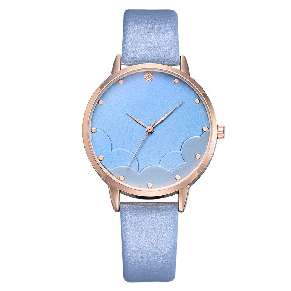 Shops XR3292 Blue Sky and White Clouds Business Diamonds Ladies Watch