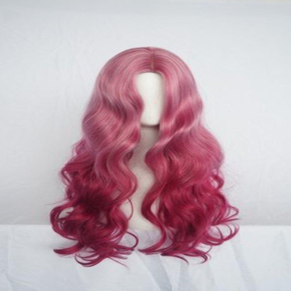 Online Smoke Pink Long Curly Hair High Temperature Silk Wig