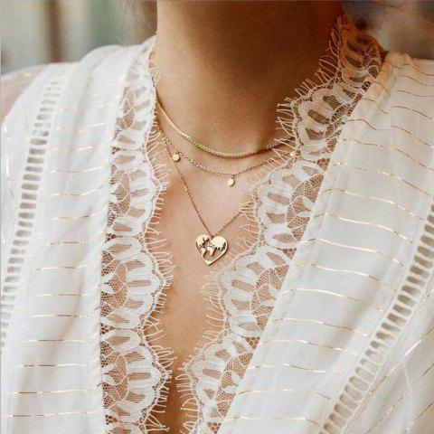 Fashion Hollow Map Pendant Multi-Layer Necklace