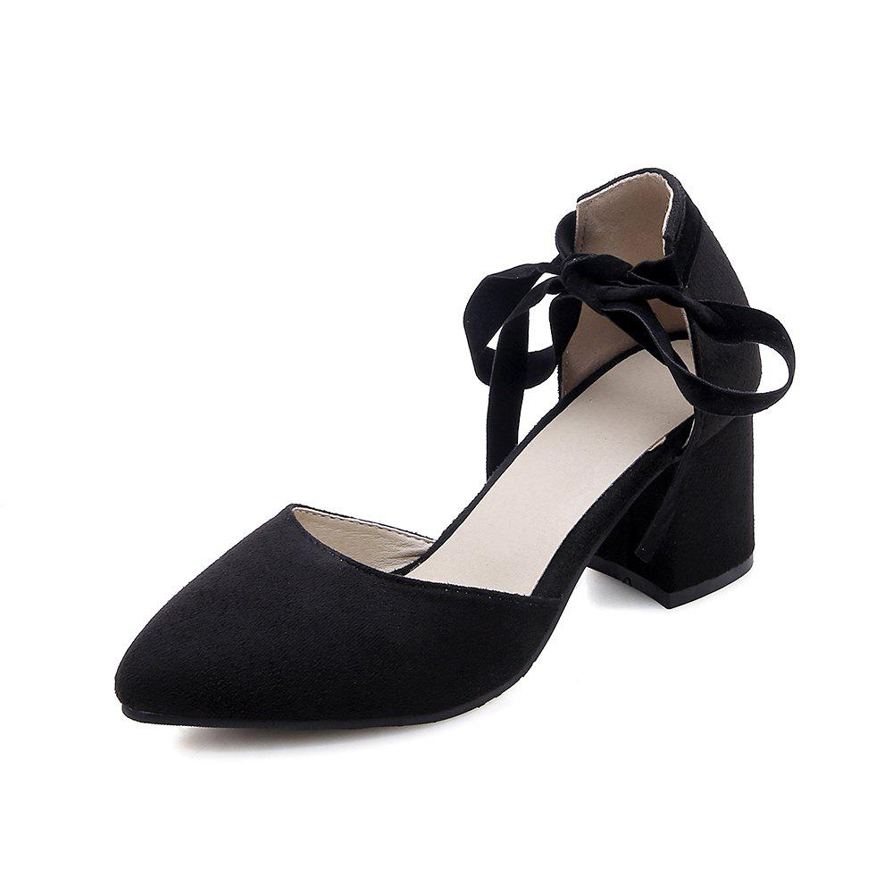 Fancy New Fashion Pointed Toe Dull Polish Pure Color Lace Up Chunky Lady Sandals