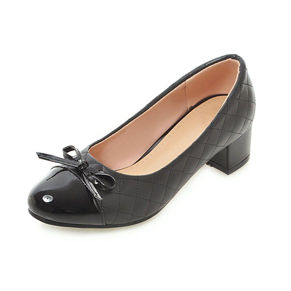 Discount Round Toe Patent Leather Pure Color Bowknot Sweet Chunky Lady Pumps