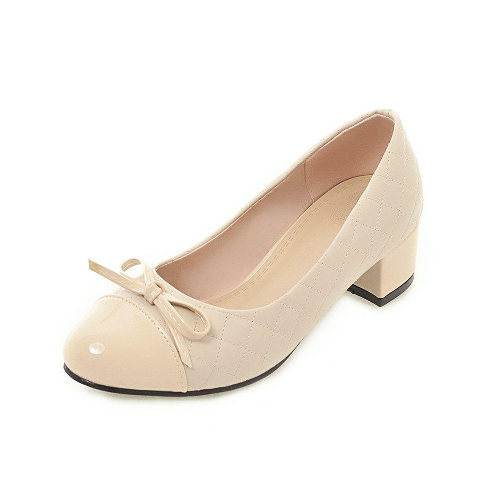 Affordable Round Toe Patent Leather Pure Color Bowknot Sweet Chunky Lady Pumps