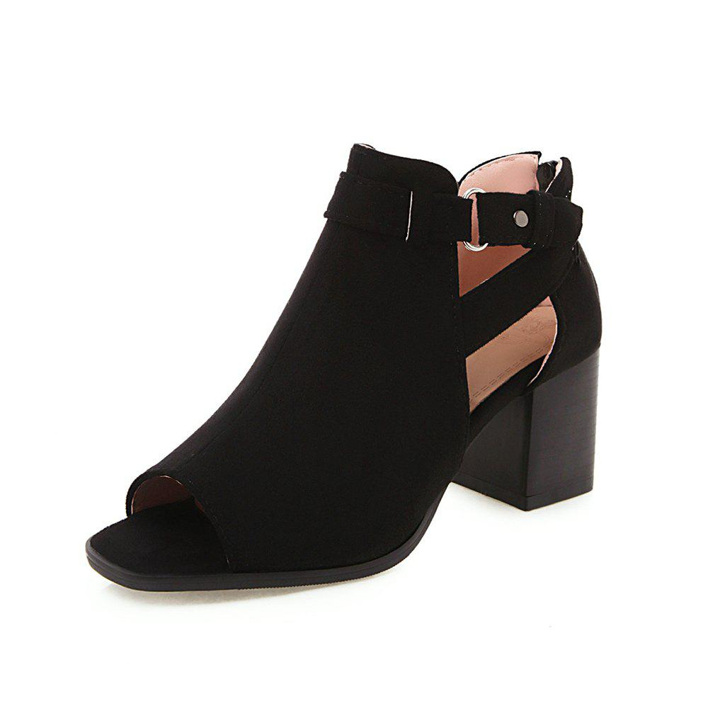 Outfit New Fashion Peep Toe Dull Polish Zipper Pure Color Chunky Heels Lady Cool Boots