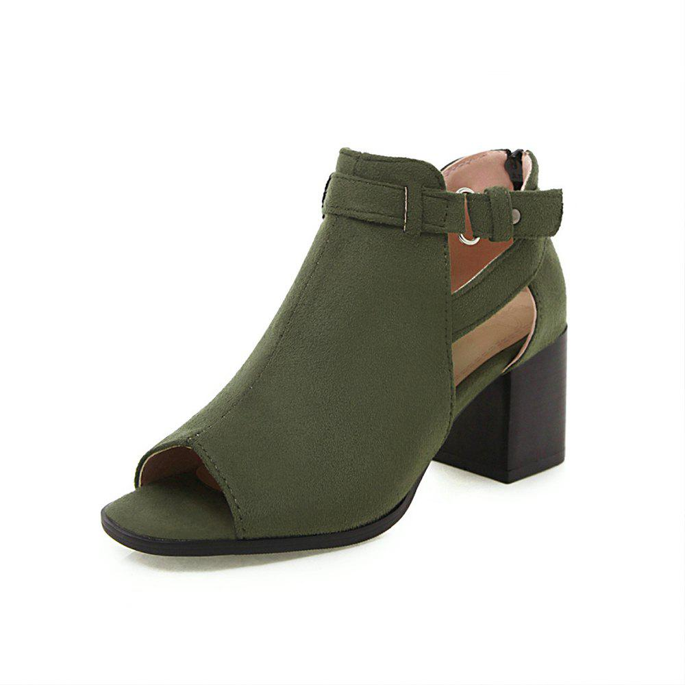 Outfits New Fashion Peep Toe Dull Polish Zipper Pure Color Chunky Heels Lady Cool Boots