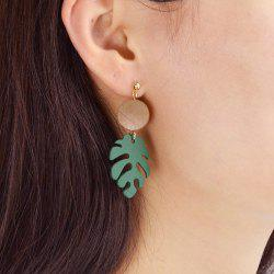 Gold-Color with Green Leaf Acrylic Earring -