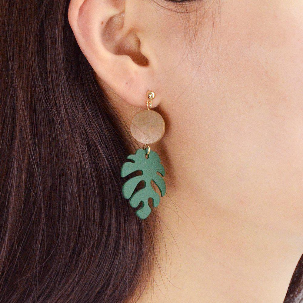Unique Gold-Color with Green Leaf Acrylic Earring