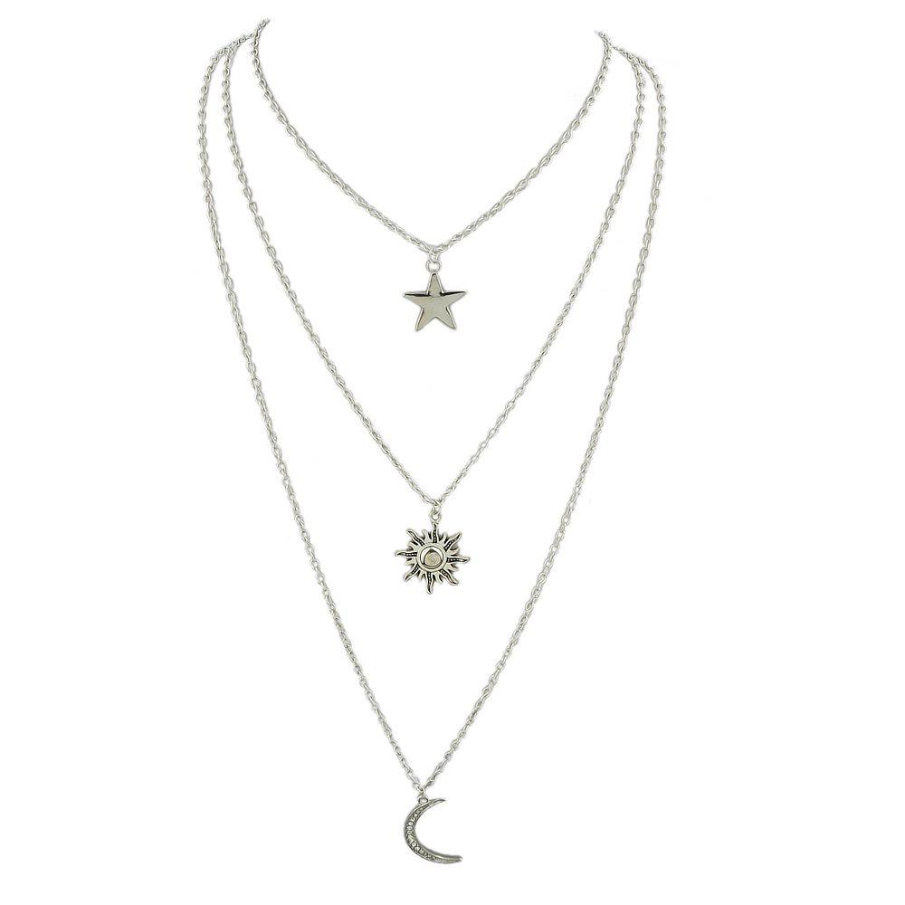 Unique Silver Color Chain with Moon Star Drop Chain Necklace