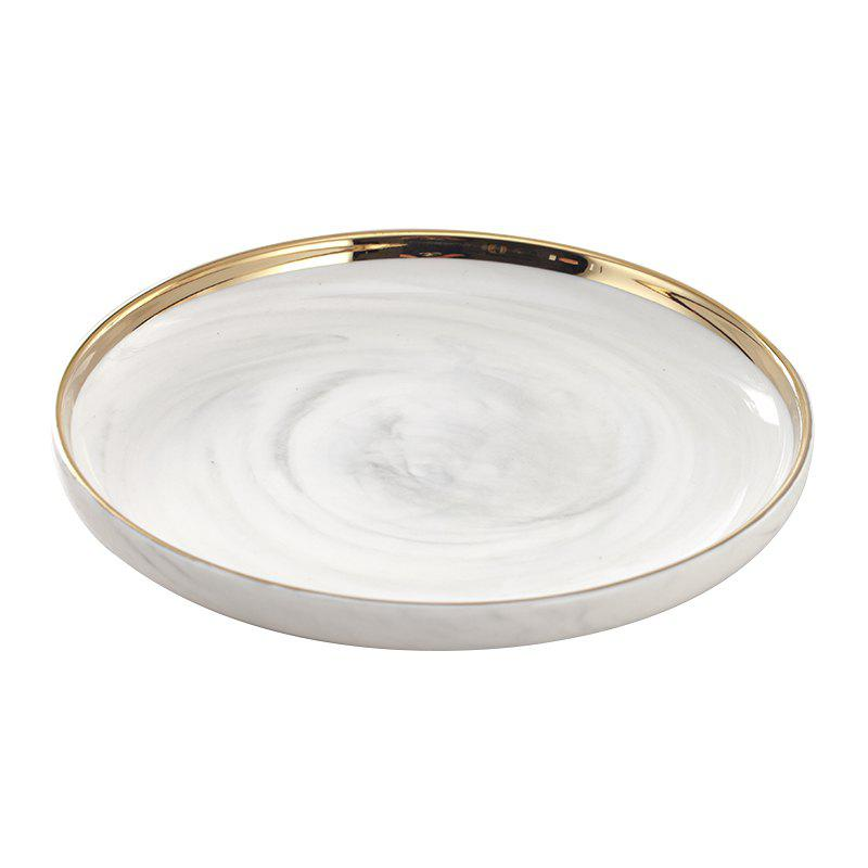 Fancy European Dessert Tray Ceramic Marble Plate