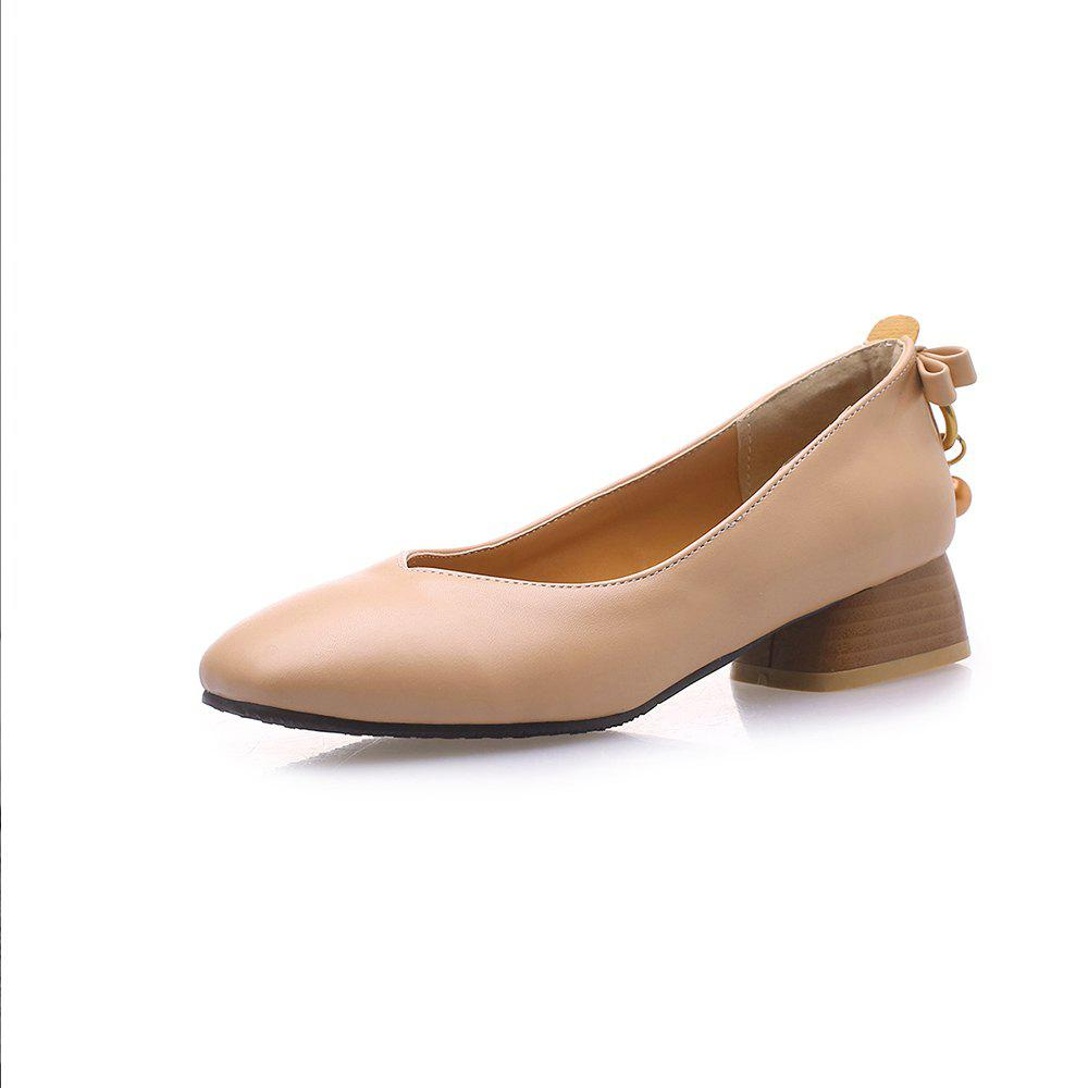 Buy New Fashion Square Toes Pure Color Bowknot Chunky Lady Pumps