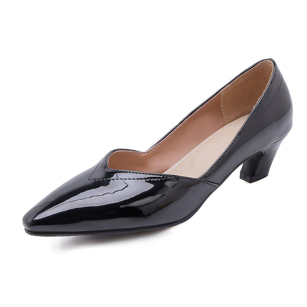Fancy Fashion Pointed Toe Pure Color Patent Leather Chunky Lady Pumps