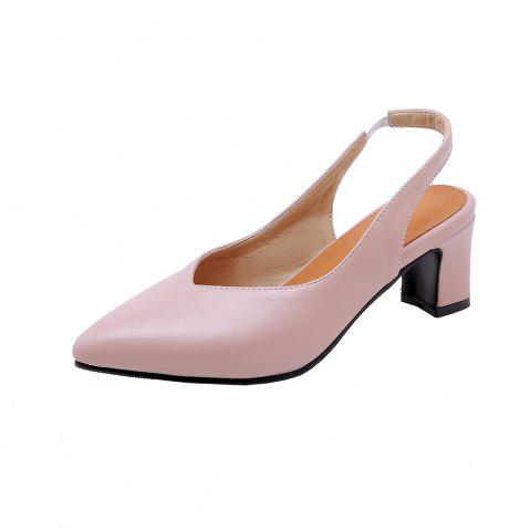 97ec58c7303 Fashion Pointed Toe Pure Color Elasticity Commuting Chunky Lady Sandals