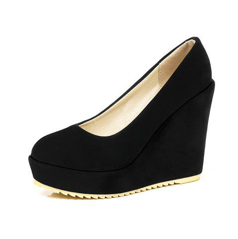 New Fashion Round Toe Platform Napped Leather Pure Color Wedges lady Pumps