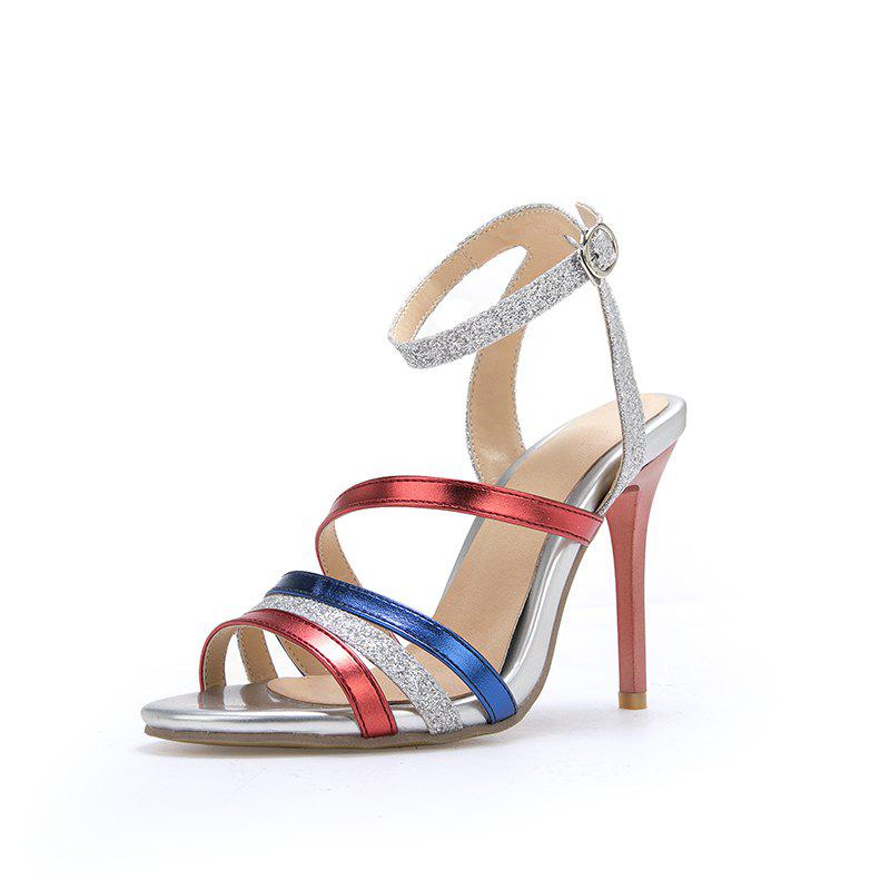 Chic New Fashion Toe Blue Patchwork Buckle Strap Stilettos Heels Lady Sandals