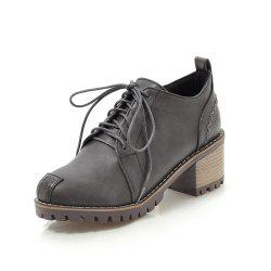 Fashion Round Toe Sewing Lace Up Chunky Casual lady Pumps -