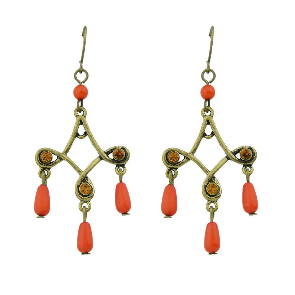 Antique Gold-Color with Colorful Beads Geometric Dangle Earrings