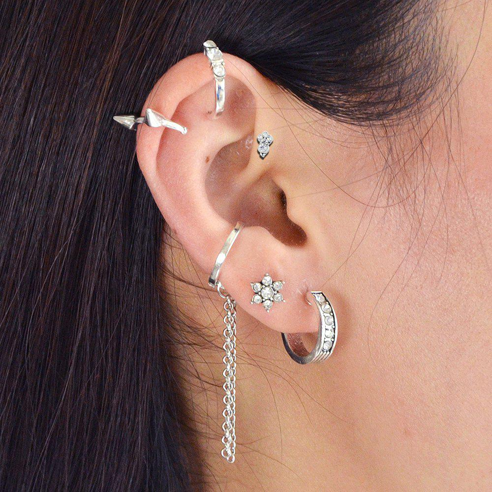 32800ffcd 37% OFF] Silver Color With Geometric Ear Clip Stud Earrings 6PCS/Set ...