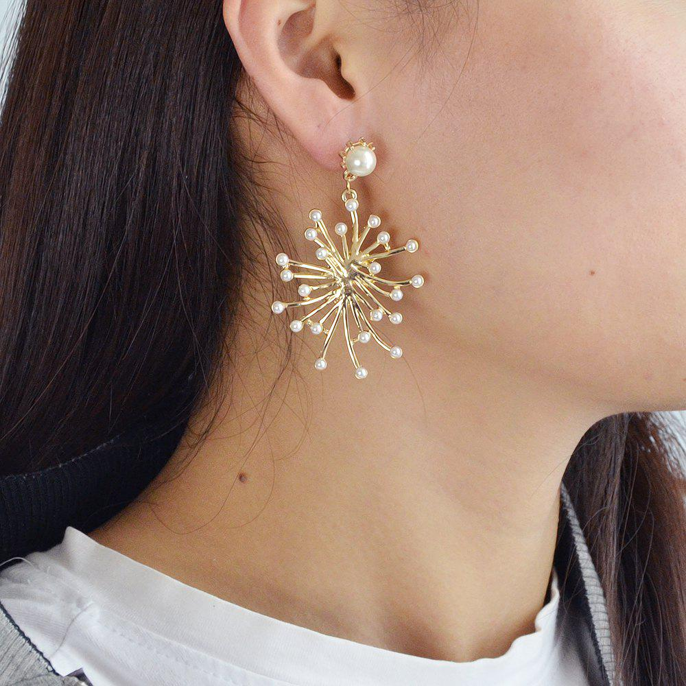 Chic Gold-Color with Simulated-pearl Black Rhinestone Dangle Earring