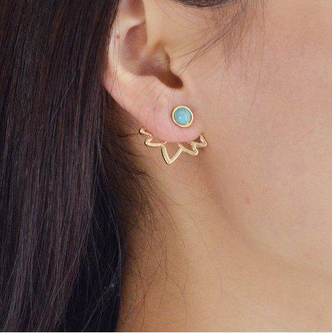 Gold Silver with Blue Stone Flower Stud Earrings