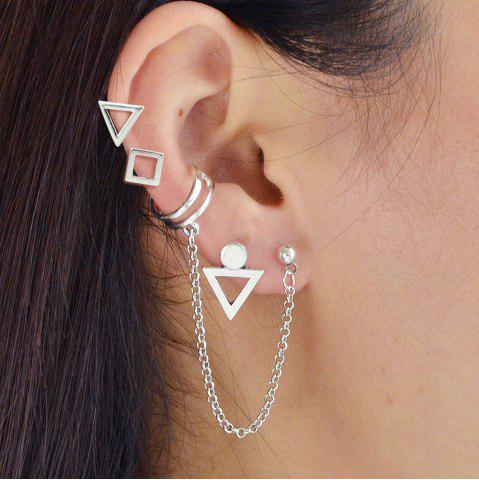 529cc173b Silver Color With Geometric Stud Earrings Ear Clip 4PCS Set