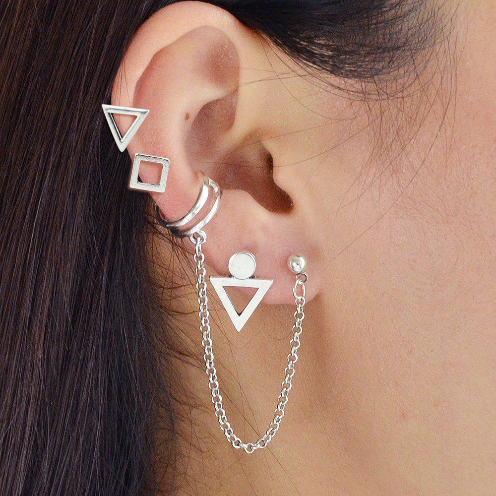 Silver Color With Geometric Stud Earrings Ear Clip 4PCS/Set