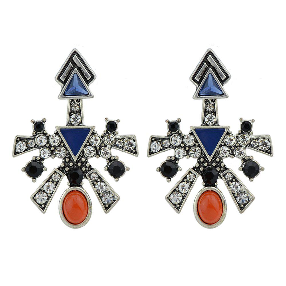 Antique Silver Color with Rhinestone Red Blue Stone Stud Earrings