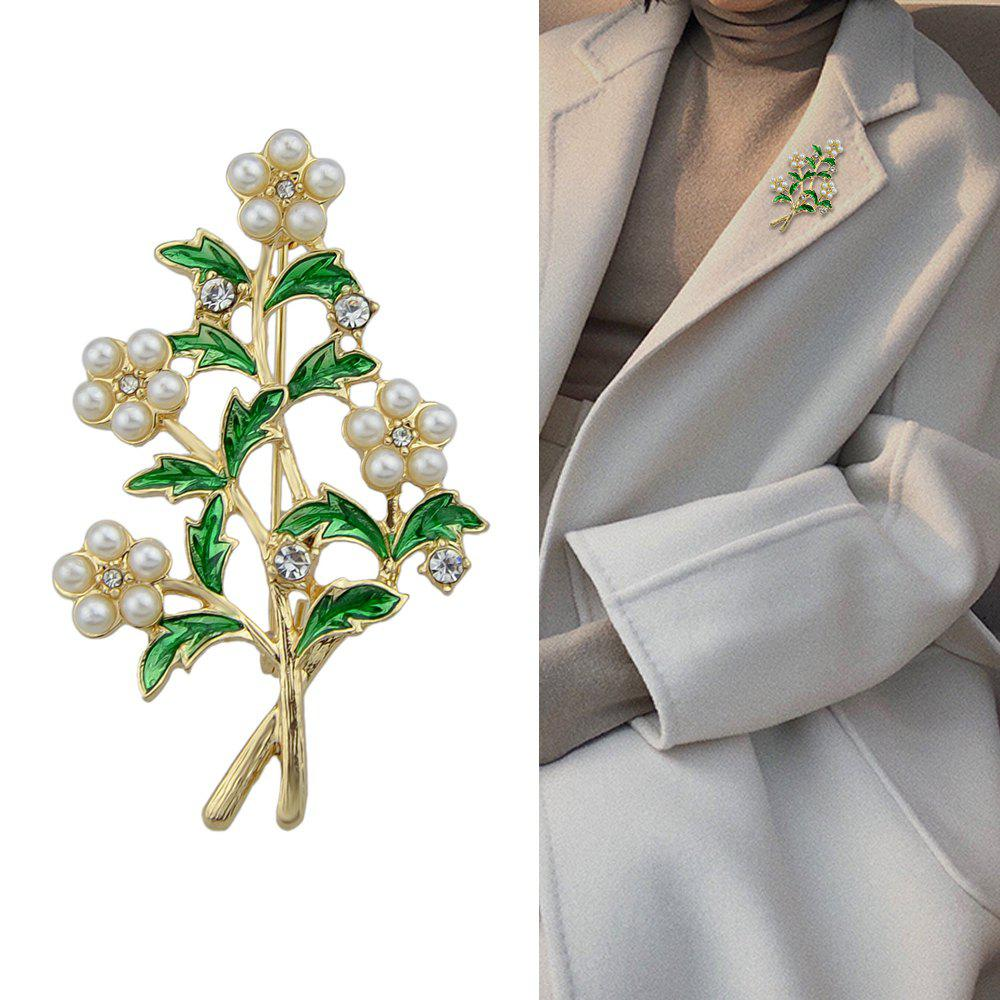 Latest Gold-Color with Rhinestone Simulated-pearl Flower Brooch
