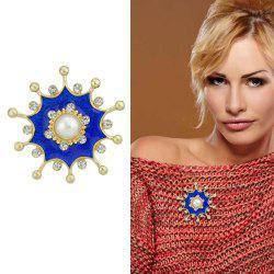 Gold-Color Metal Brooches with Simulated-pearl Rhinestone Blue Flower -