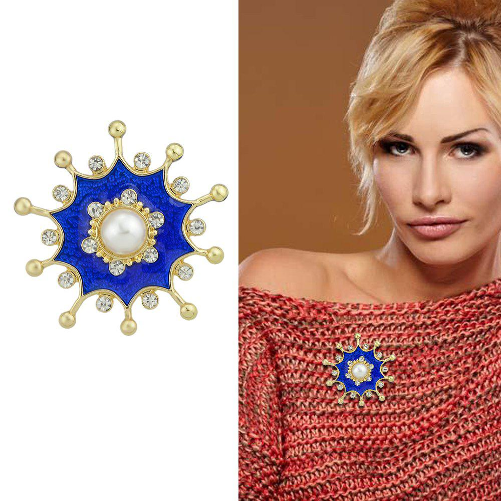 Outfit Gold-Color Metal Brooches with Simulated-pearl Rhinestone Blue Flower