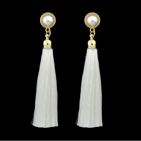 Gold-Color with Simulated-pearl Colorful Tassel Dangle Earring