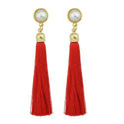 Gold-Color with Simulated-pearl Colorful Tassel Dangle Earring -