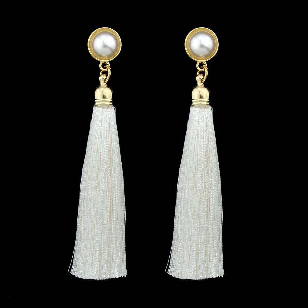 Latest Gold-Color with Simulated-pearl Colorful Tassel Dangle Earring