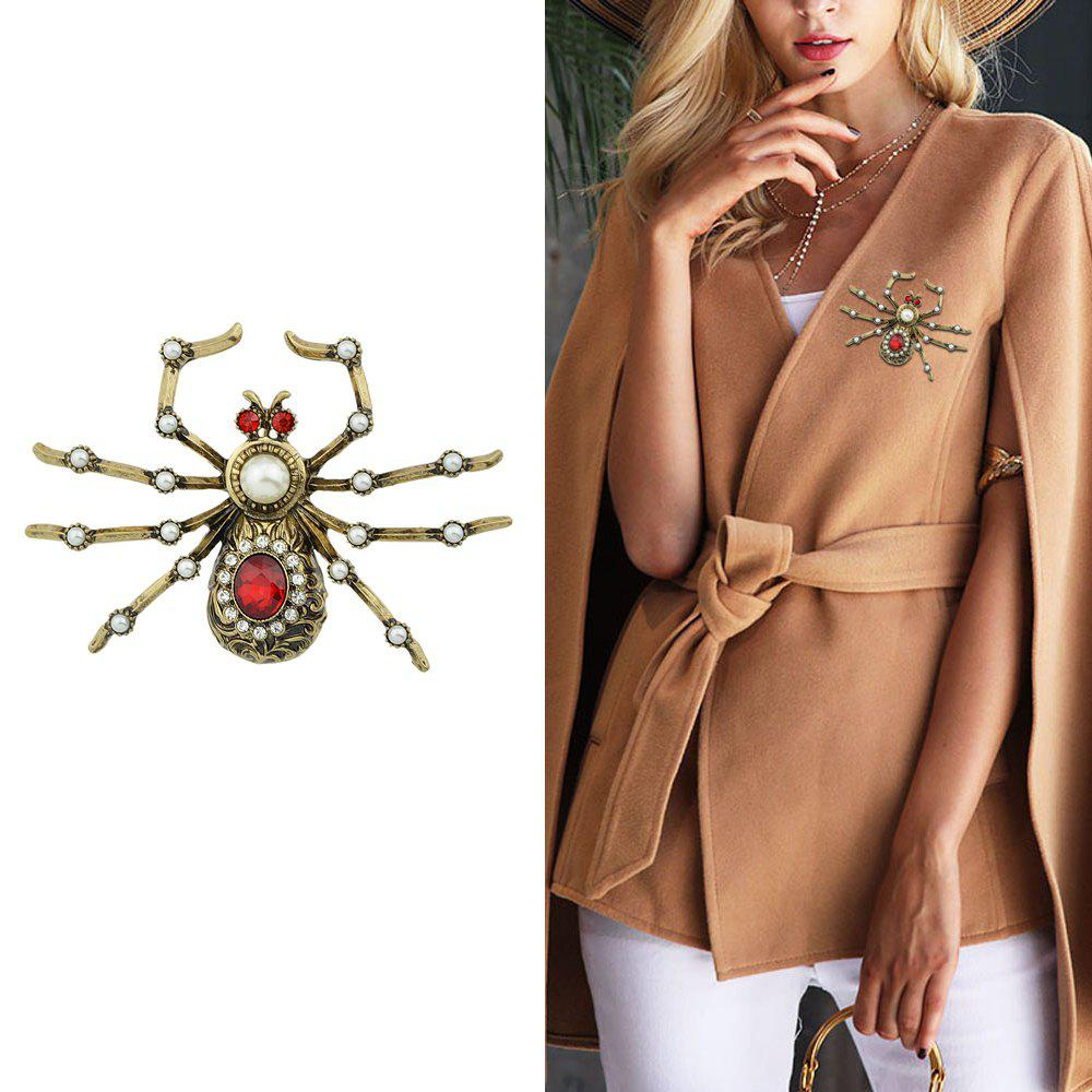 Fancy Antique Gold-Color with Rhinestone Spider Brooch