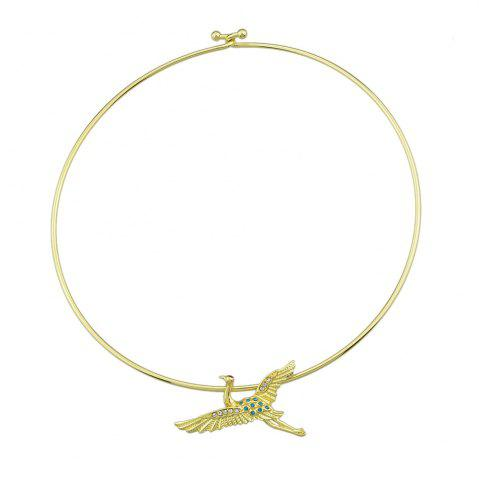 Gold-Color Chain with Rhinestone Bird Choker Necklace
