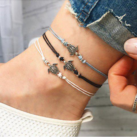 Beige Black Blue Rope with Turtle Anklets 1PC