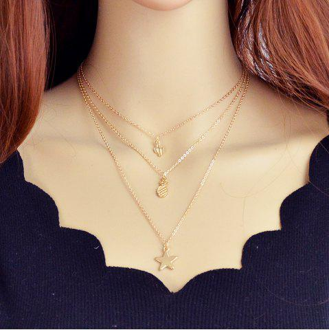 Gold-Color with Cactus Pineapple Star Chain Necklace
