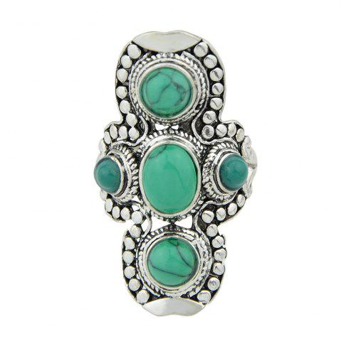 Silver Color with Colorful Stone Round Rings