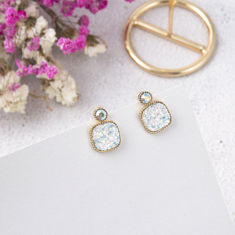 Store Wild Colorful Sequins with Diamonds Square Earrings