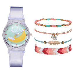 Women'S Fashion Chronograph Rubber Quartz Wrist Watch Set -
