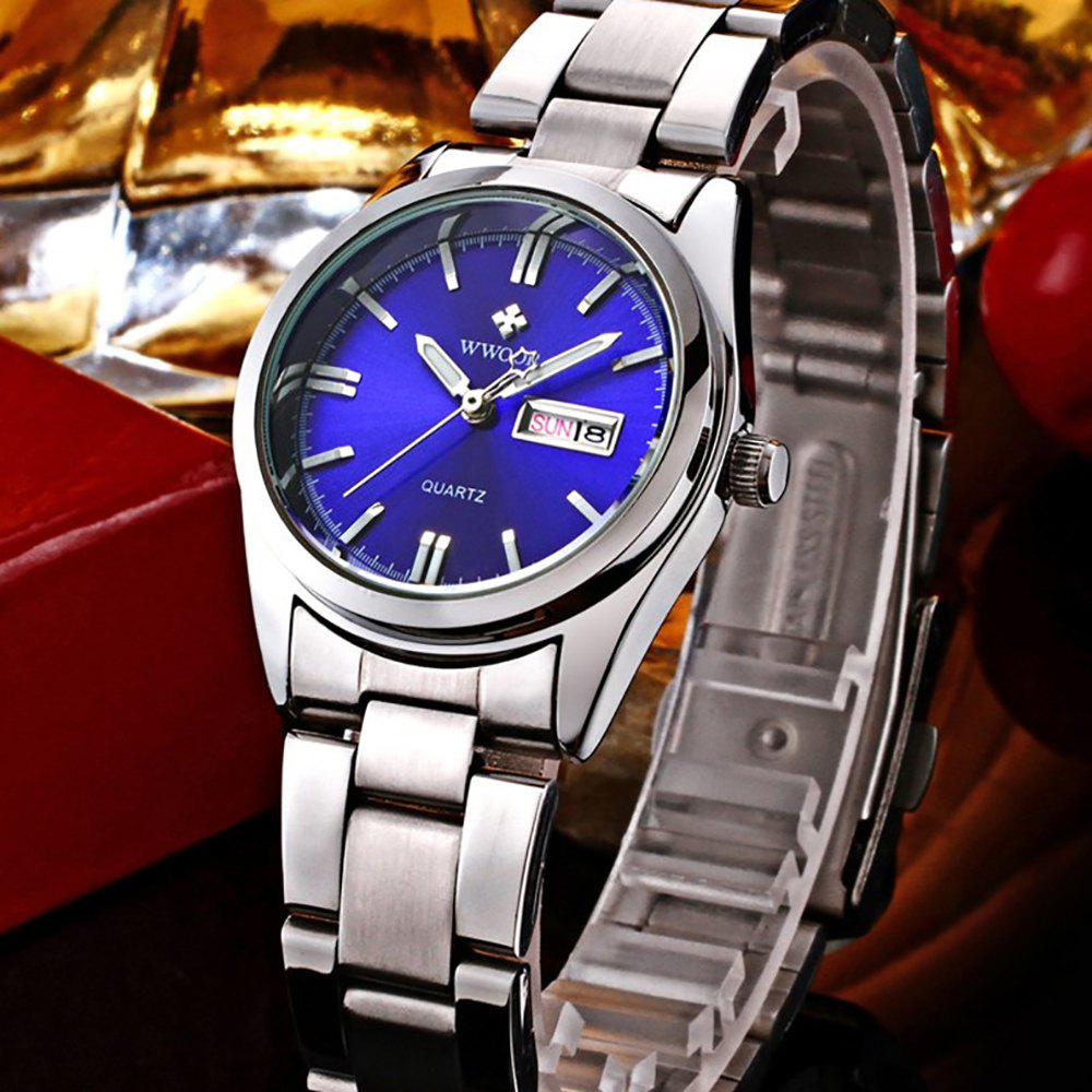 Online WWOOR Fashion Classy Women Stainless Steel Date Round Dial Quartz Wrist Watch