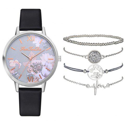 Women's Fashion Chronograph Leather Quartz Wrist Watch Set