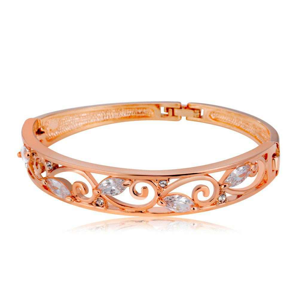 Affordable Rose Gold-Plated Openwork Flower Branches with Clear Crystal Bracelet