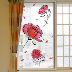 Fashion Roses Removable PVC Window Film Wall Sticker Matte -