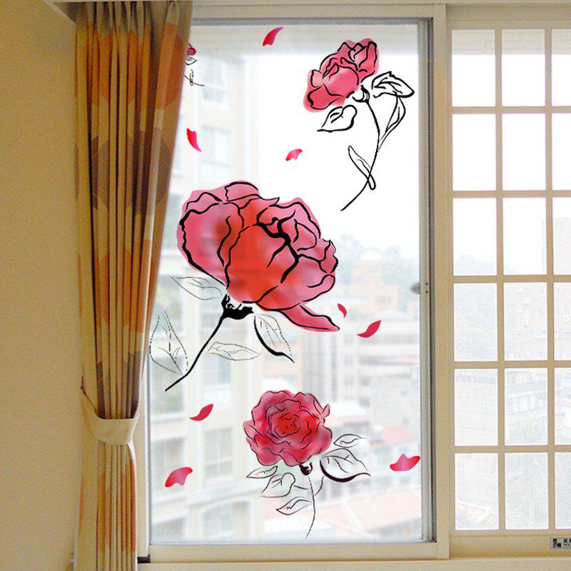 Affordable Fashion Roses Removable PVC Window Film Wall Sticker Matte