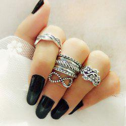 Antique Silver Color With Flower Bowknot Ring 4PCS/Set -