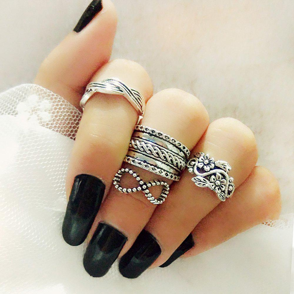 Best Antique Silver Color With Flower Bowknot Ring 4PCS/Set